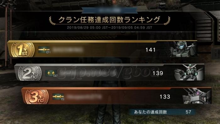 クラン任務達成回数ランキング 達成57回